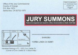 Jury Dutyの呼び出しはがき