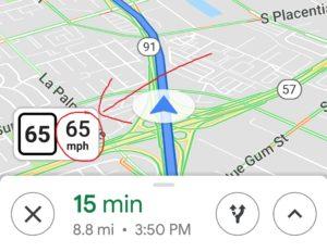 左が制限速度、右が現行速度