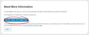 「ENTER BANK INFORMATION」をクリック!!